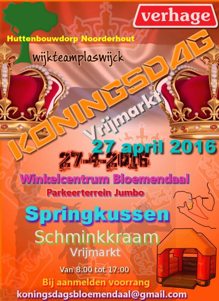 Poster Koningsdag Bloemendaal-Plaswijck 27 April 2016